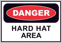 Danger Hard Hat Area Sticker OR Magnet