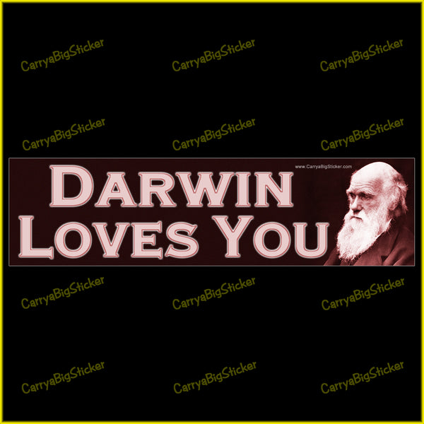 Bumper Sticker or Bumper Magnet says, Darwin Loves You. Features photo of Charles Darwin.