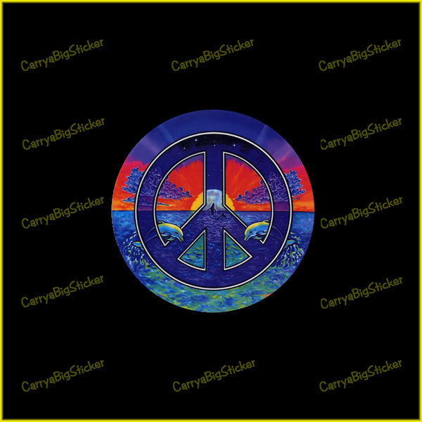 Round translucent window sticker shows leaping whales and dolphins in the ocean. Peace symbol is superimposed on this beautiful scene.