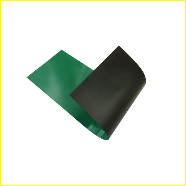 Photo shows piece of flexible green colored magnetic material. Material is black on the magnetic side.