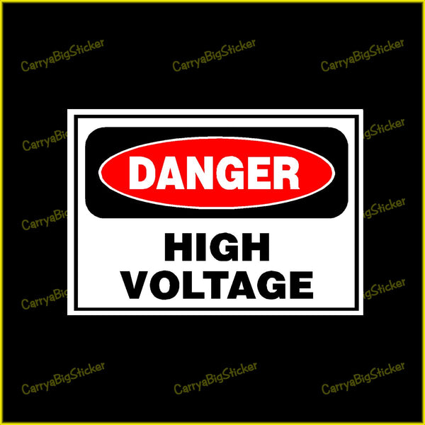 Sticker or Magnet says, Danger High Voltage. Classic design in red and black with Danger in a large red oval.
