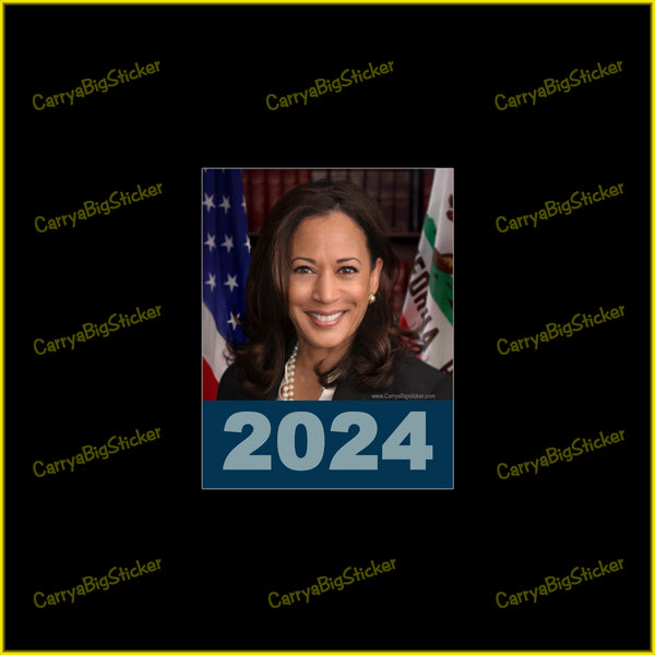 Bumper Sticker or Bumper Magnet features a photo of Kamala Harris above 2024.