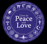 Live in Peace and Love Round Bumper Sticker with Religious Symbols