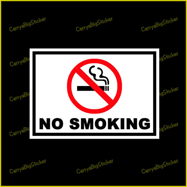 Rectangular sticker or magnet says, No Smoking. Features burning cigarette inside red circle with red slash through cigarette.