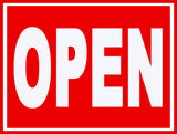 Open & Closed (White Letters on Red) Stickers OR Magnets (Set)