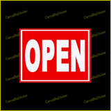 Rectangular sticker or magnet says, Open. White letters on a red field.