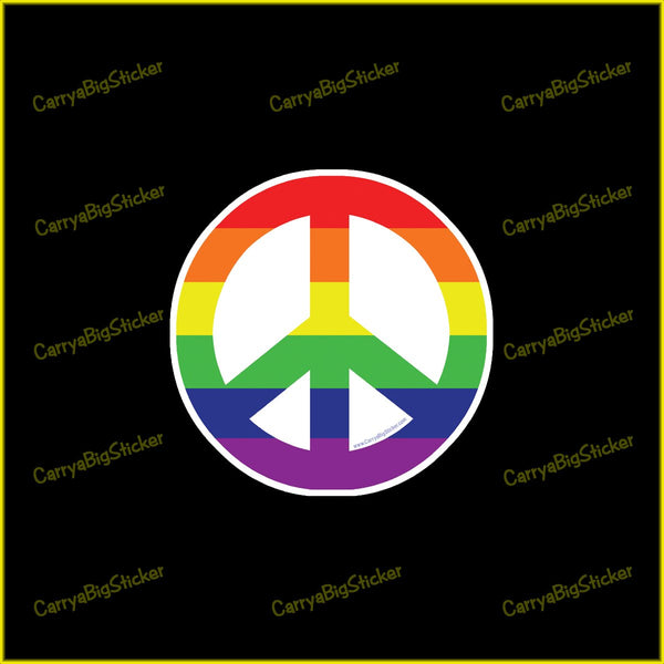 Round Bumper Sticker features peace symbol in rainbow stripes.