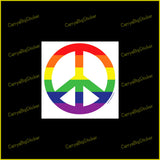 Square Bumper Sticker or Bumper Magnet shows peace symbol with rainbow colored stripes.