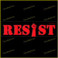 "Resist Bumper Sticker or Bumper Magnet. Features raised fist in place of the letter ""i""."
