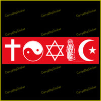 Bumper Sticker or Bumper Magnet says, Toxic. Features various religious symbols including a cross, Star of David, Islamic crescent, etc.