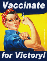 Vaccinate for Victory! Rosie the Riveter Poster-Style Bumper Sticker OR Bumper Magnet