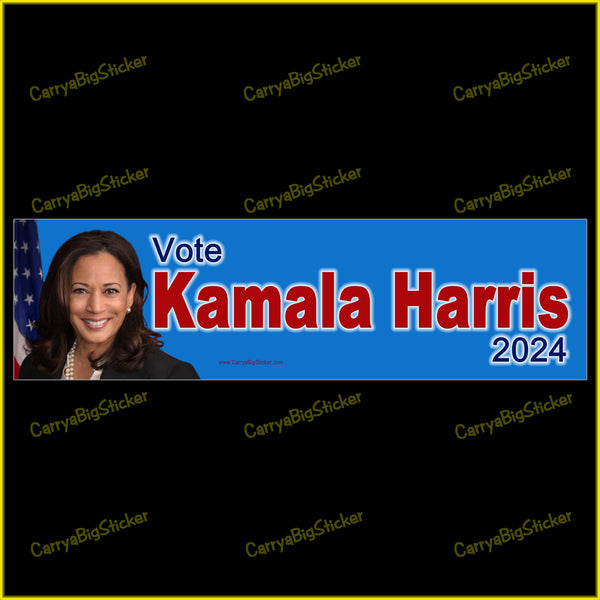 Bumper Sticker or Bumper Magnet says, Vote Kamala Harris 2024. Features photo of Kamala on blue background.