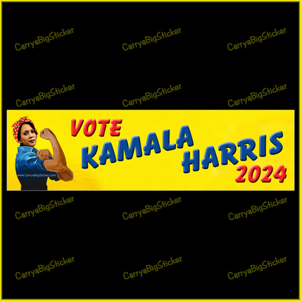Vote Kamala Harris 2024 Bumper Sticker or Bumper Magnet. Features illustration of Kamala Harris posing like Rosie the Riveter.