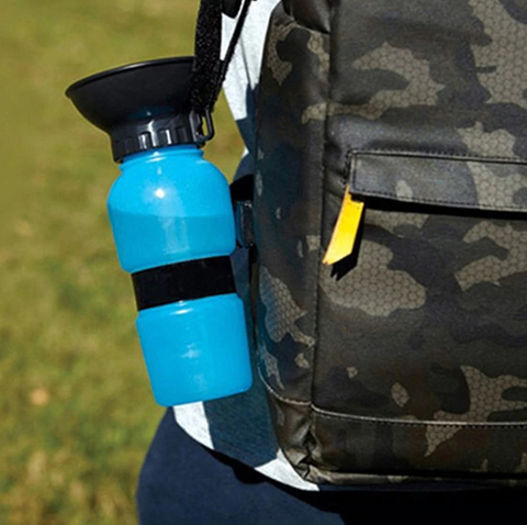 water bottle is easy to operate and holds roughly 16 ounces of water