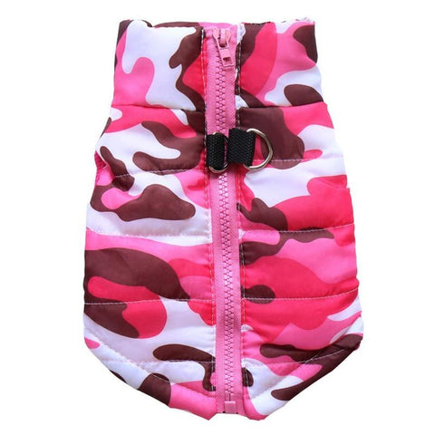 camo dog winter vest jacket - fushia camo
