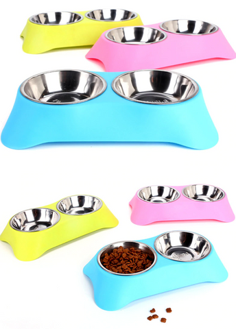 double dog bowl stainless steel food and water station