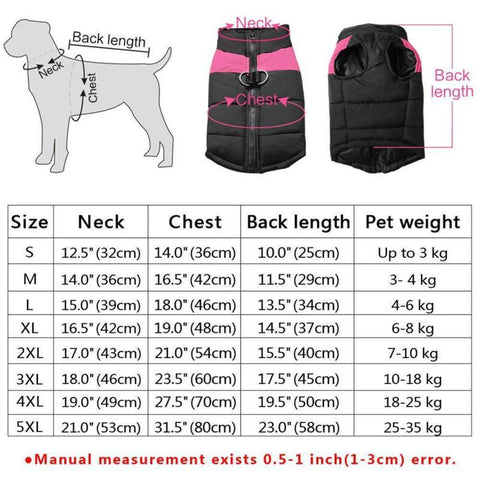 Strong Outdoor Warm Dog Vest Jacket sizes