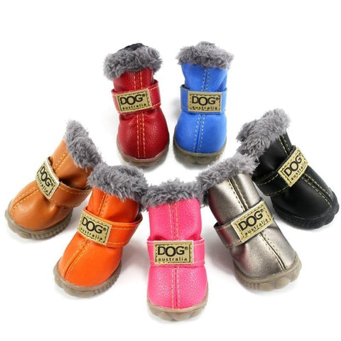 Natural Rubber Waterproof Leather Dog Boots