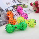 Polka Dot Squeaky Dog Rubber Dumbbell | PUP ADDICT
