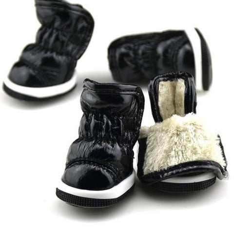 Small Dog Fashion Winter PU Leather Dog Boots | PUP ADDICT