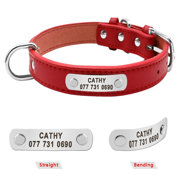 PU Leather Personalized Dog ID Collar | PUP ADDICT