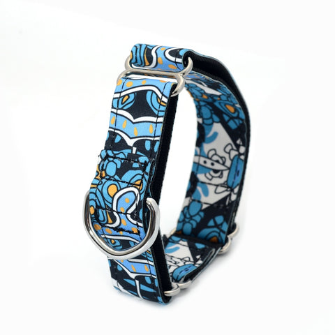 Martingale Dog Collar 2.5cm and 3.8 cm - Blue