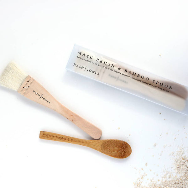 Hake Goat Hair Mask Brush & Bamboo Spoon by Nash and Jones
