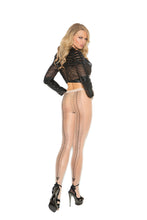 Sheer Cuban Foot Pantyhose With Woven Lace Up Back Detail