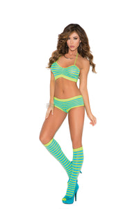 Fabulous Look! Chartreuse & Turquoise Striped Cami, Shorts And Knee Hi's