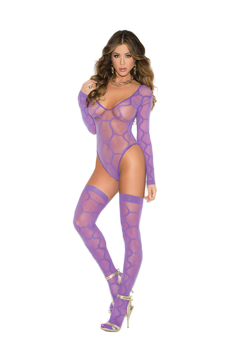 Pretty Purple Long Sleeve Hexagon Pattern Teddy With Matching Stockings