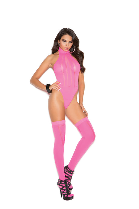 Hot Pink Opaque And Sheer Teddy With Matching Stockings