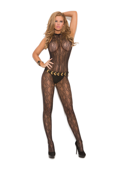 Swirl Lace Halter Bodystocking With Open Crotch