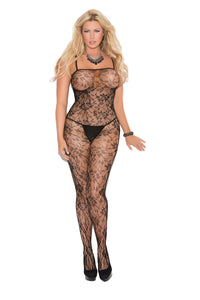 Rose Lace Bodystocking With Open Crotch