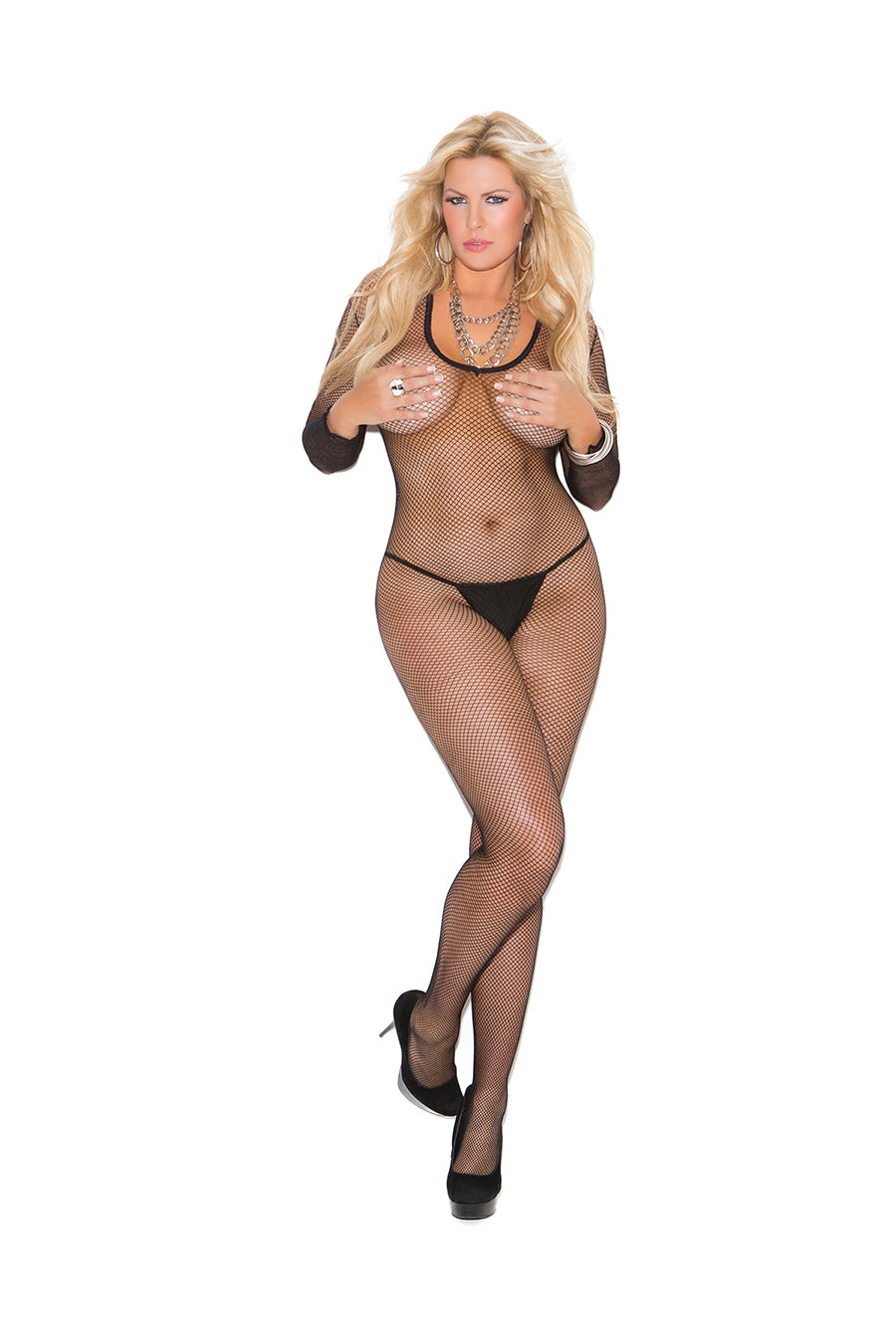 Fishnet Long Sleeve Bodystocking With Open Crotch- Comes In 2 Colors