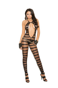 Opaque And Diamond Net Striped Bodystocking With Open Crotch