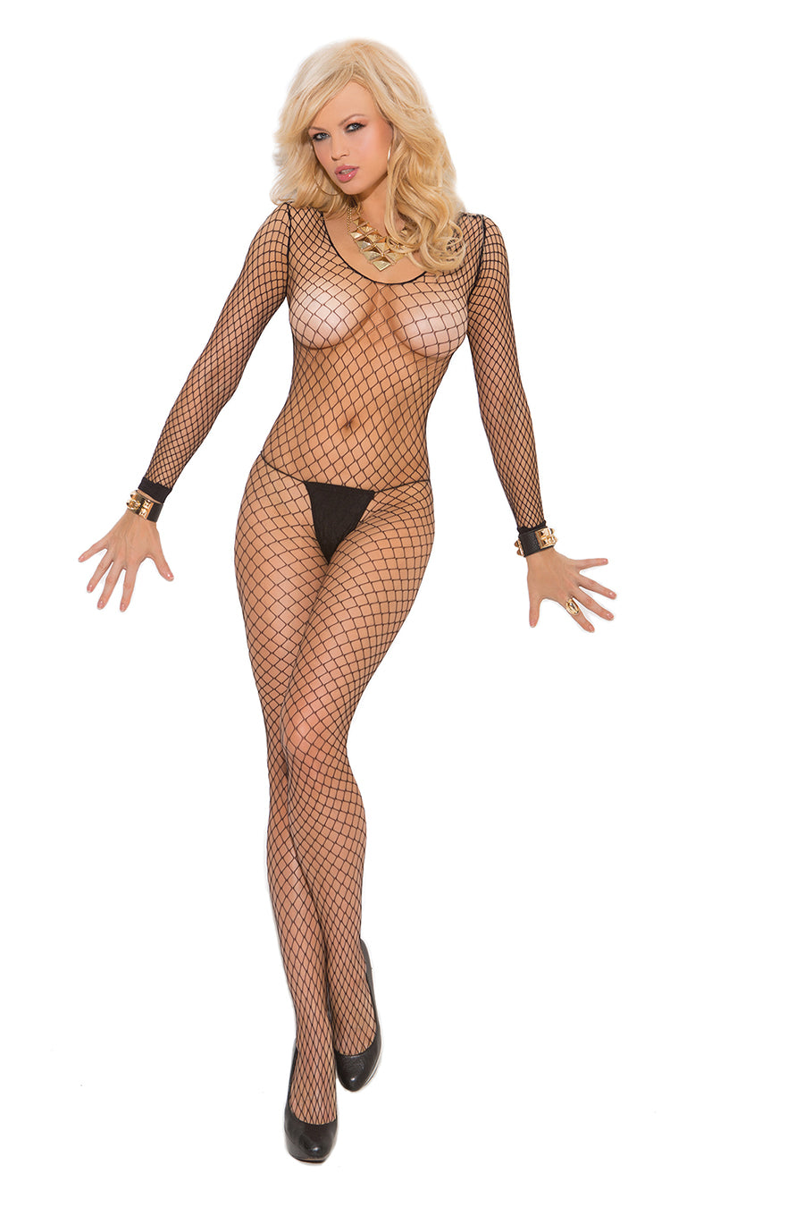 Fence Net Long Sleeve Bodystocking With Open Crotch