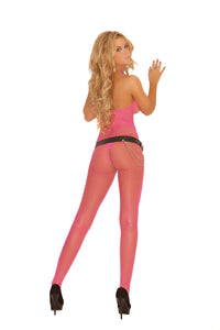 Diamond Net Bodystocking With Open Bust And Crotch