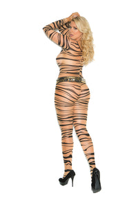 Sheer Tiger Stripe Print Long Sleeve Bodystocking With Open Crotch
