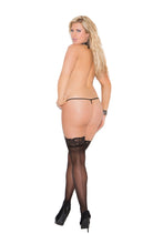 Sheer Thigh Hi With Lace Top And Back Seam