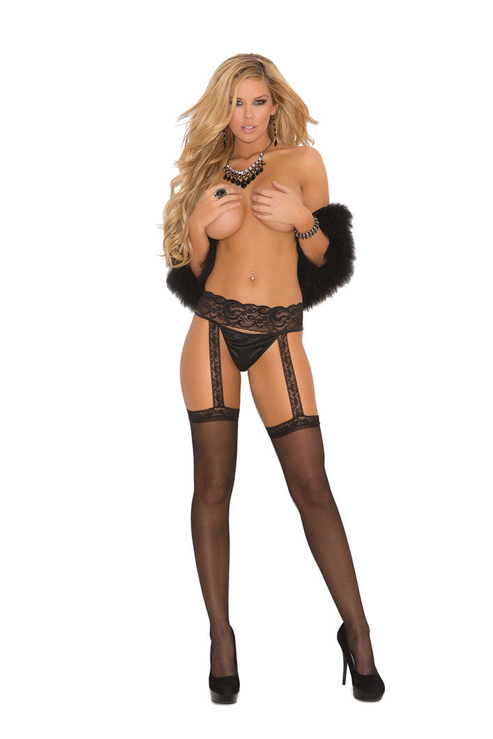 Sheer Thigh Hi With Lace Garter Belt - Comes In Black Or White