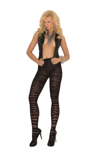 Sheer Pantyhose With Zig Zag Print
