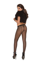 Fishnet Pantyhose With Rhinestone Back Seam