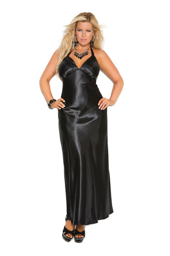 Plus Size Charmeuse Satin Halter Neck Gown