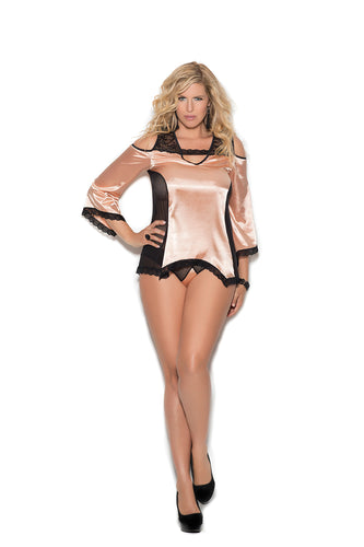Plus Size Cold Shoulder Charmeuse Night Shirt And Matching Panty