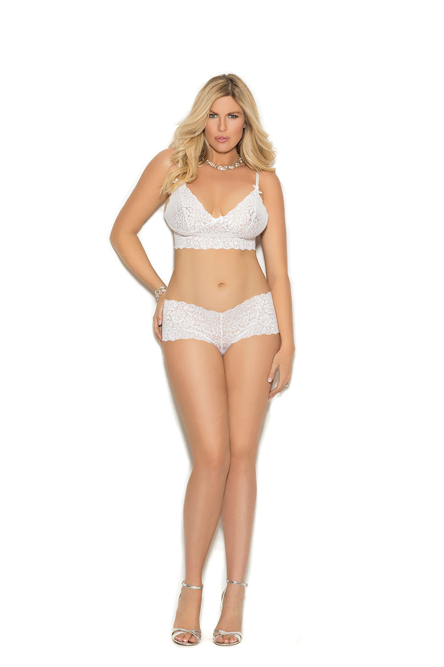 Plus Size Stretch Lace Booty Shorts With Matching Camisole - Comes In 2 Colors