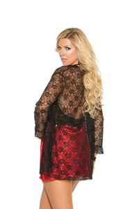 Plus Size Charmeuse Chemise With Lace Bodice And Comes With Matching Lace 3/4 Sleeve Jacket