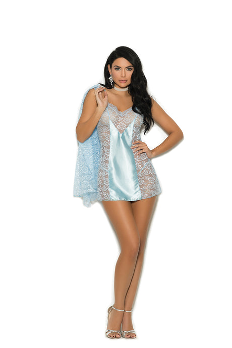 Smashing Lace Babydoll With Satin Panels In Front And Back - Comes With Matching Long Sleeve Lace Jacket And Satin G-String