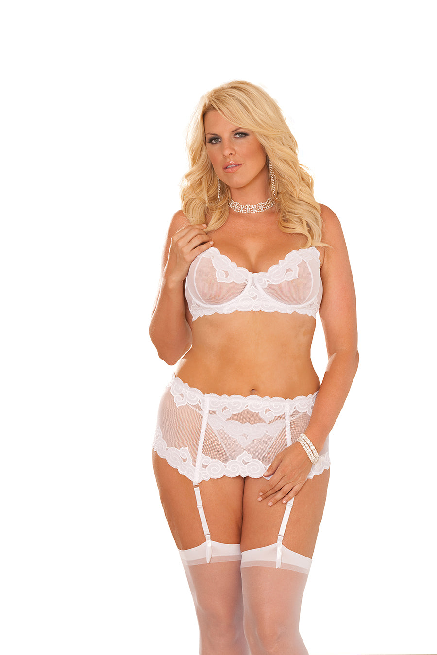 Plus Size Embroidered Mesh Underwire Bra And Waist Cincher With Matching G-String