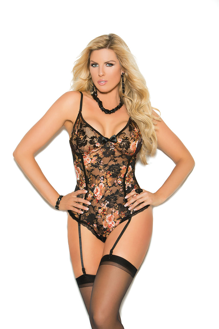 Floral Print Lace Teddiette With Satin Bow And Adjustable Straps