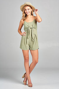Front Tie Tank Romper with Open back